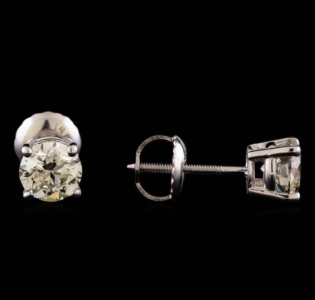 14KT White Gold 1.19 ctw Diamond Solitaire Earrings - 2