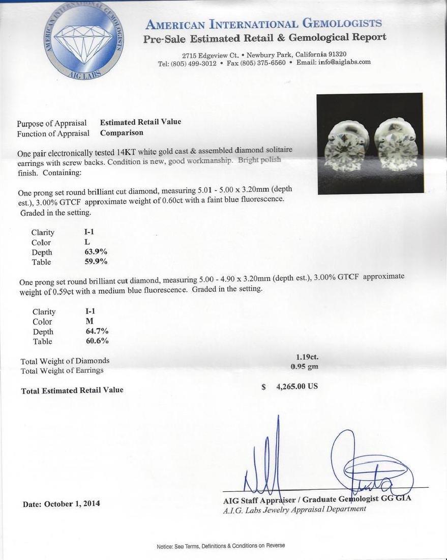 14KT White Gold 1.19 ctw Diamond Solitaire Earrings - 3
