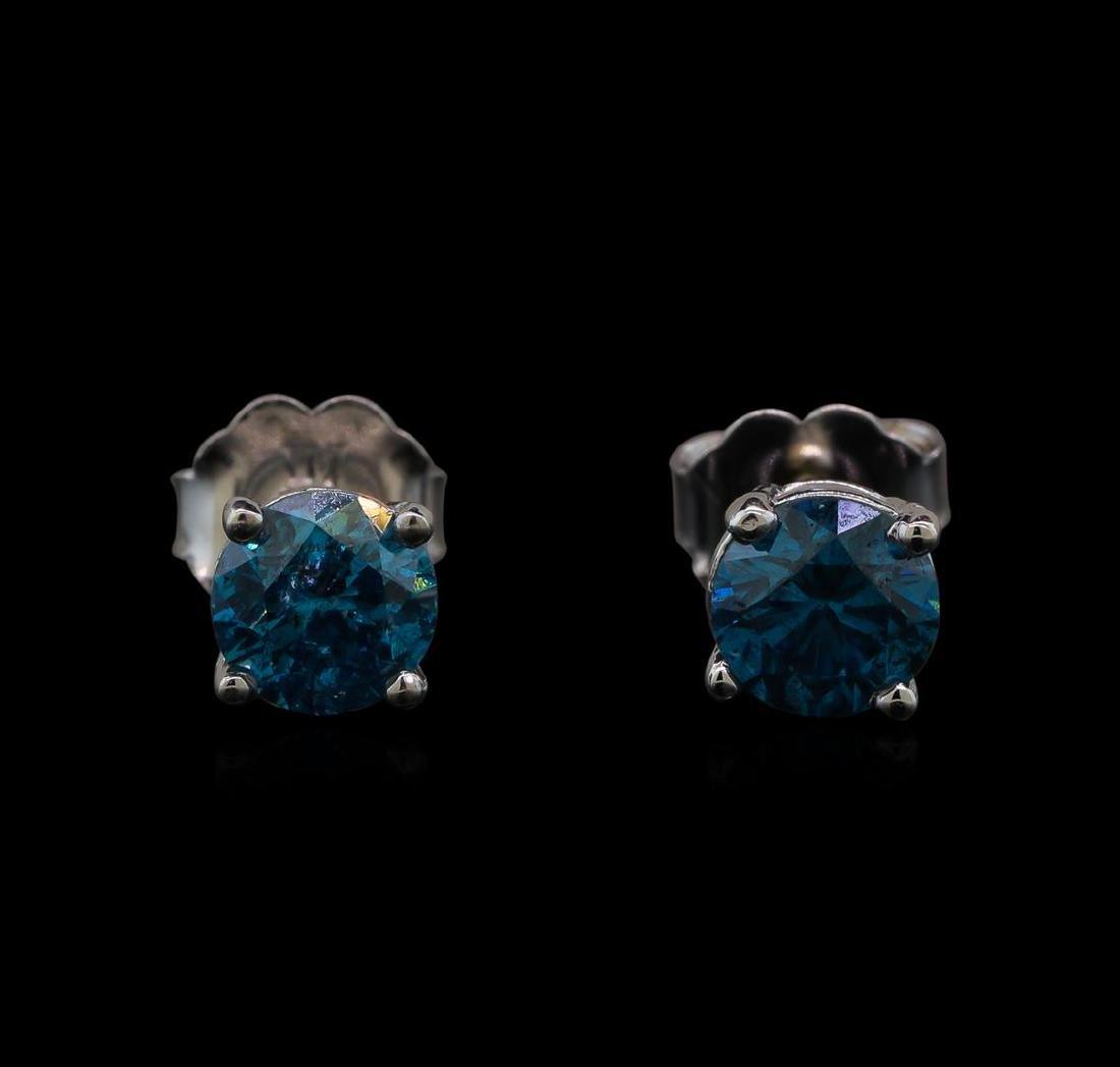 14KT White Gold 0.86 ctw Fancy Blue Diamond Stud