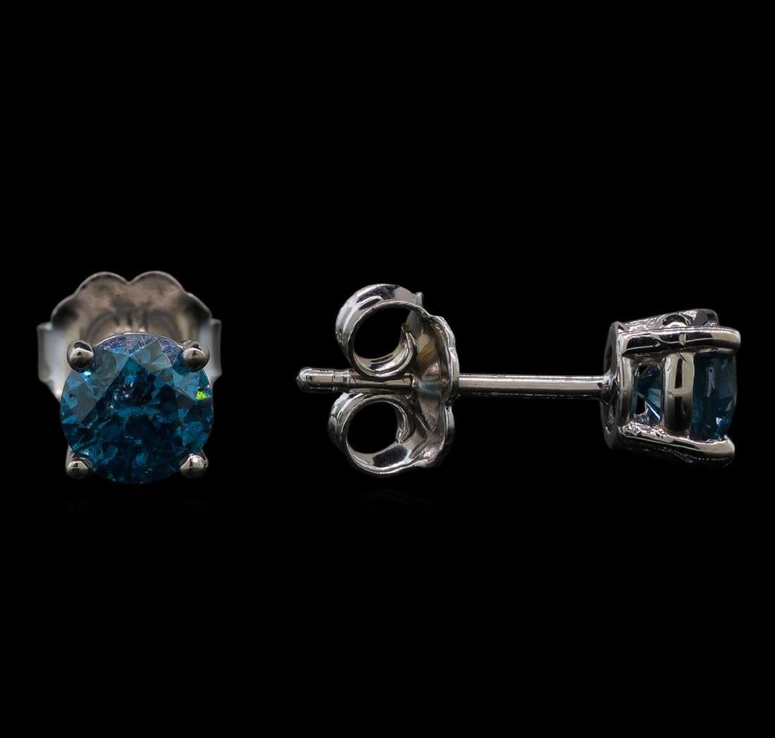 14KT White Gold 0.86 ctw Fancy Blue Diamond Stud - 2