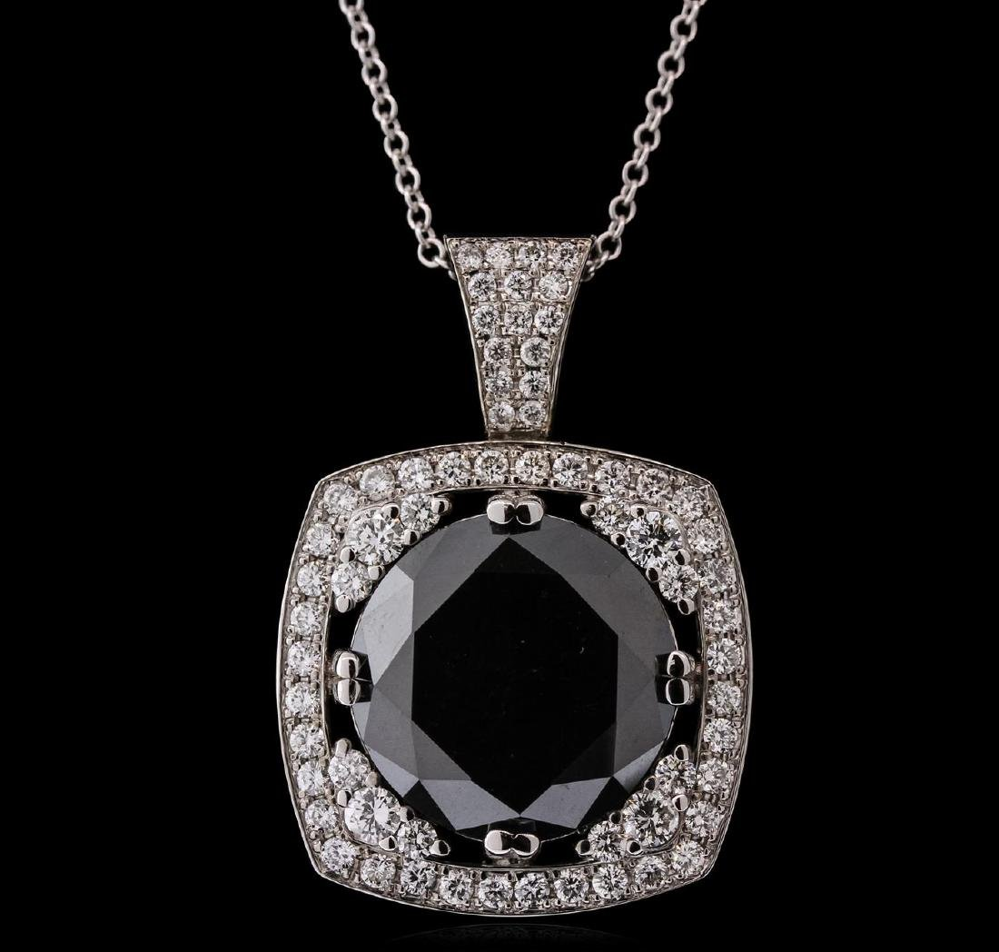 14KT White Gold 18.84 ctw Black Diamond Pendant With