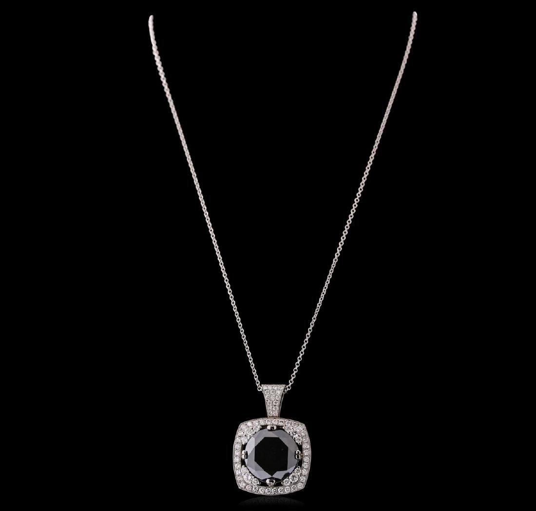 14KT White Gold 18.84 ctw Black Diamond Pendant With - 2
