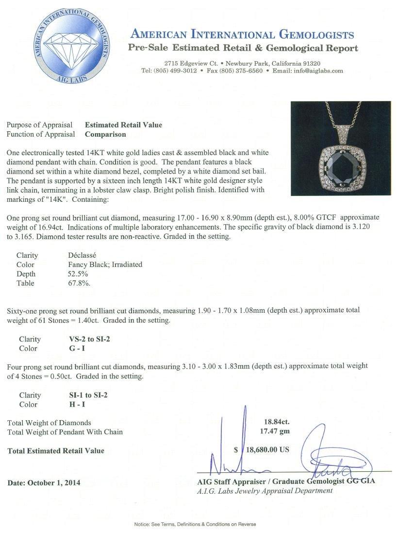 14KT White Gold 18.84 ctw Black Diamond Pendant With - 3