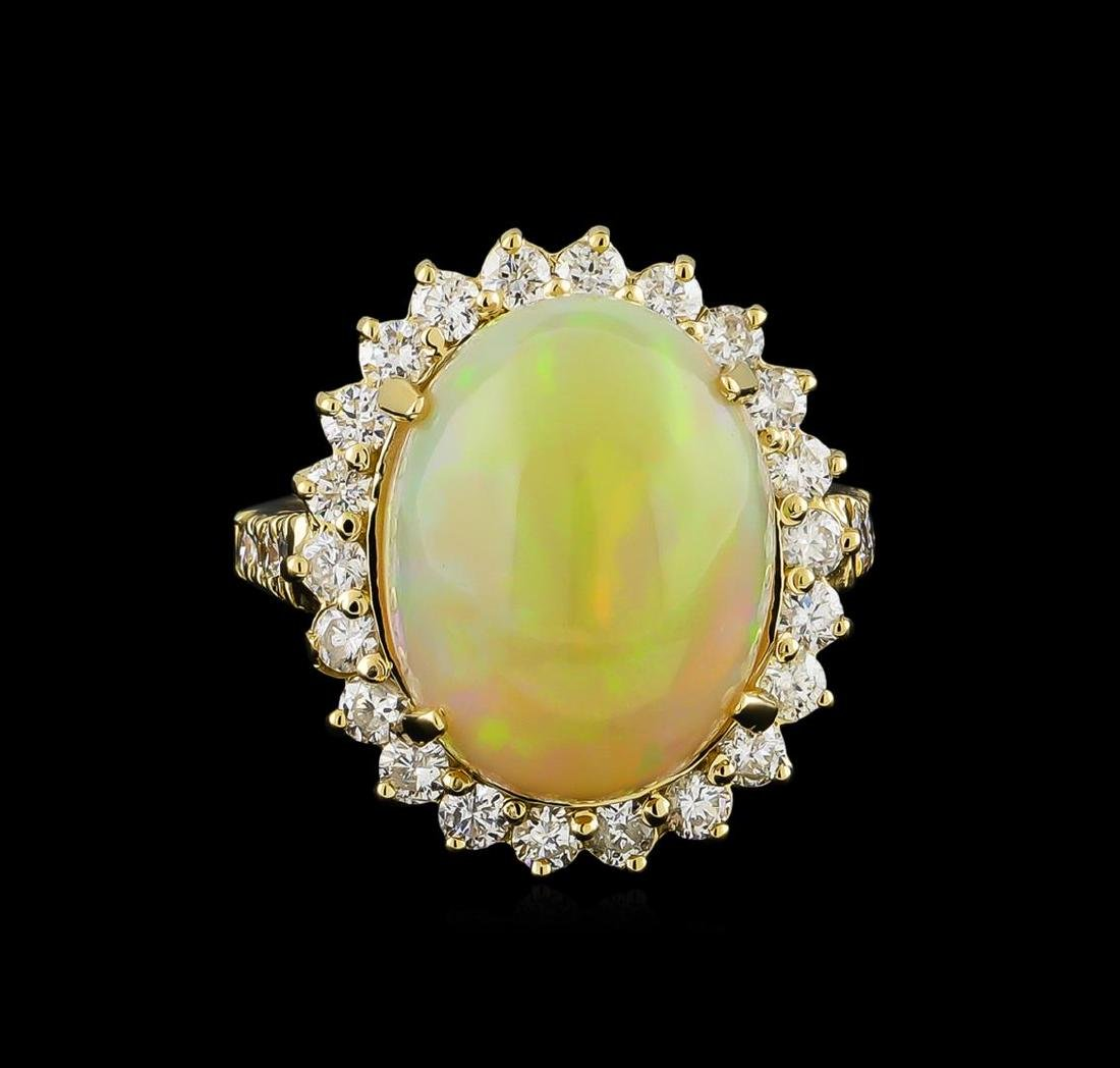 11.30 ctw Opal and Diamond Ring - 14KT Yellow Gold - 2