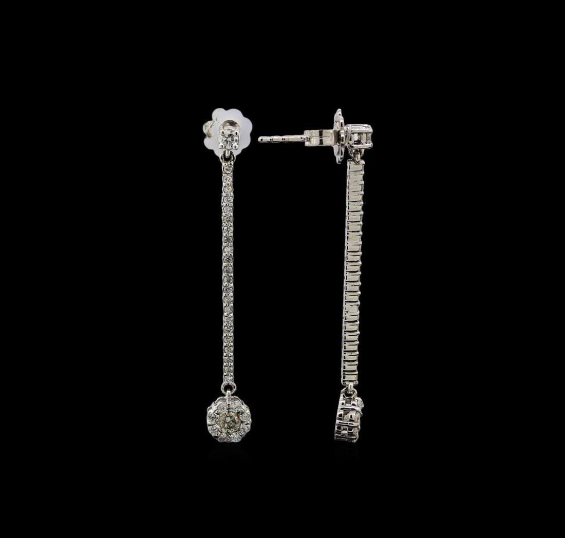 14KT White Gold 0.89 ctw Diamond Earrings - 2