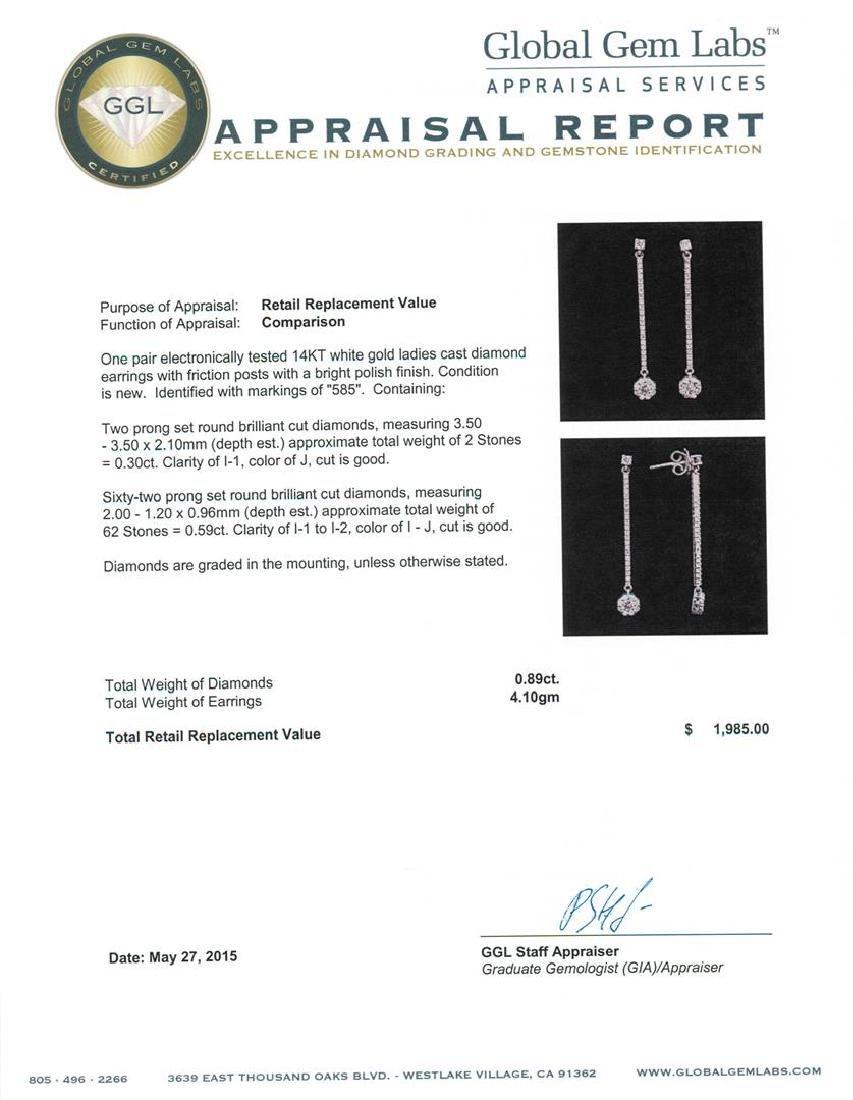 14KT White Gold 0.89 ctw Diamond Earrings - 3
