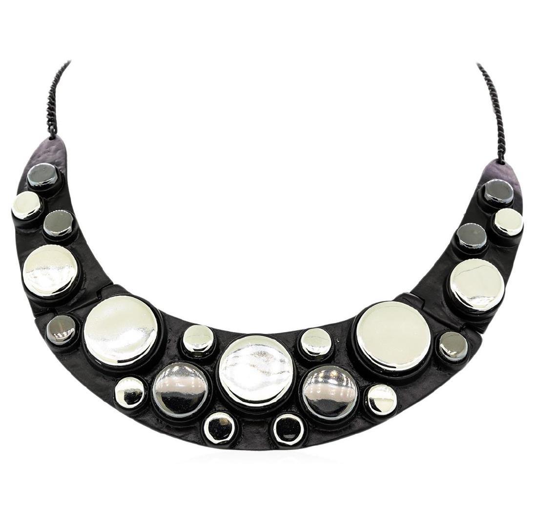 Metallic Button Bib Necklace - Black Plated - 2