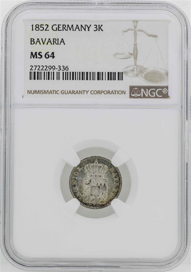 1852 Germany Bavaria 3 Kreuzer Coin NGC MS64