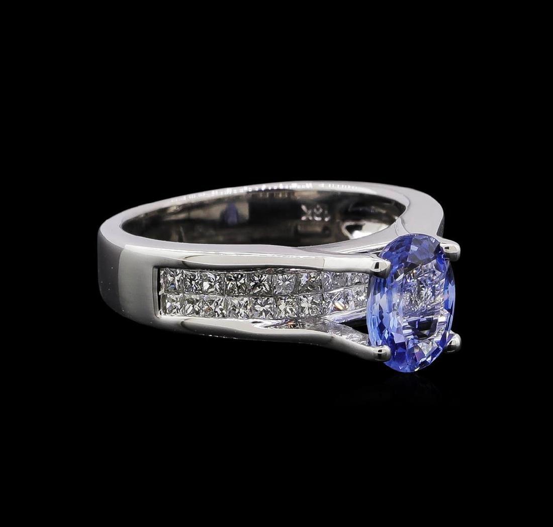 1.31 ctw Tanzanite and Diamond Ring - 18KT White Gold