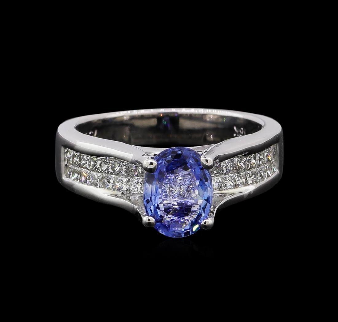 1.31 ctw Tanzanite and Diamond Ring - 18KT White Gold - 2