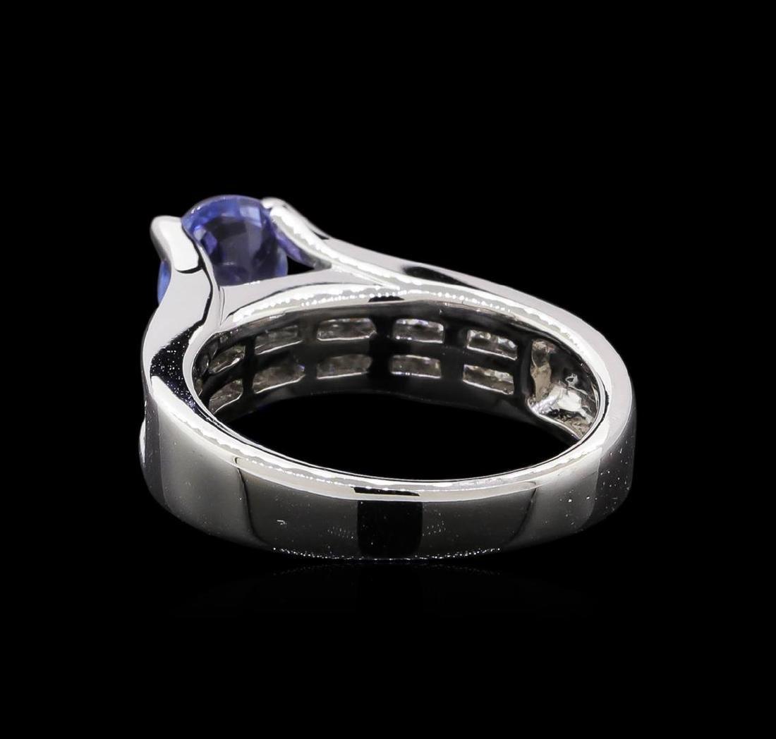 1.31 ctw Tanzanite and Diamond Ring - 18KT White Gold - 3