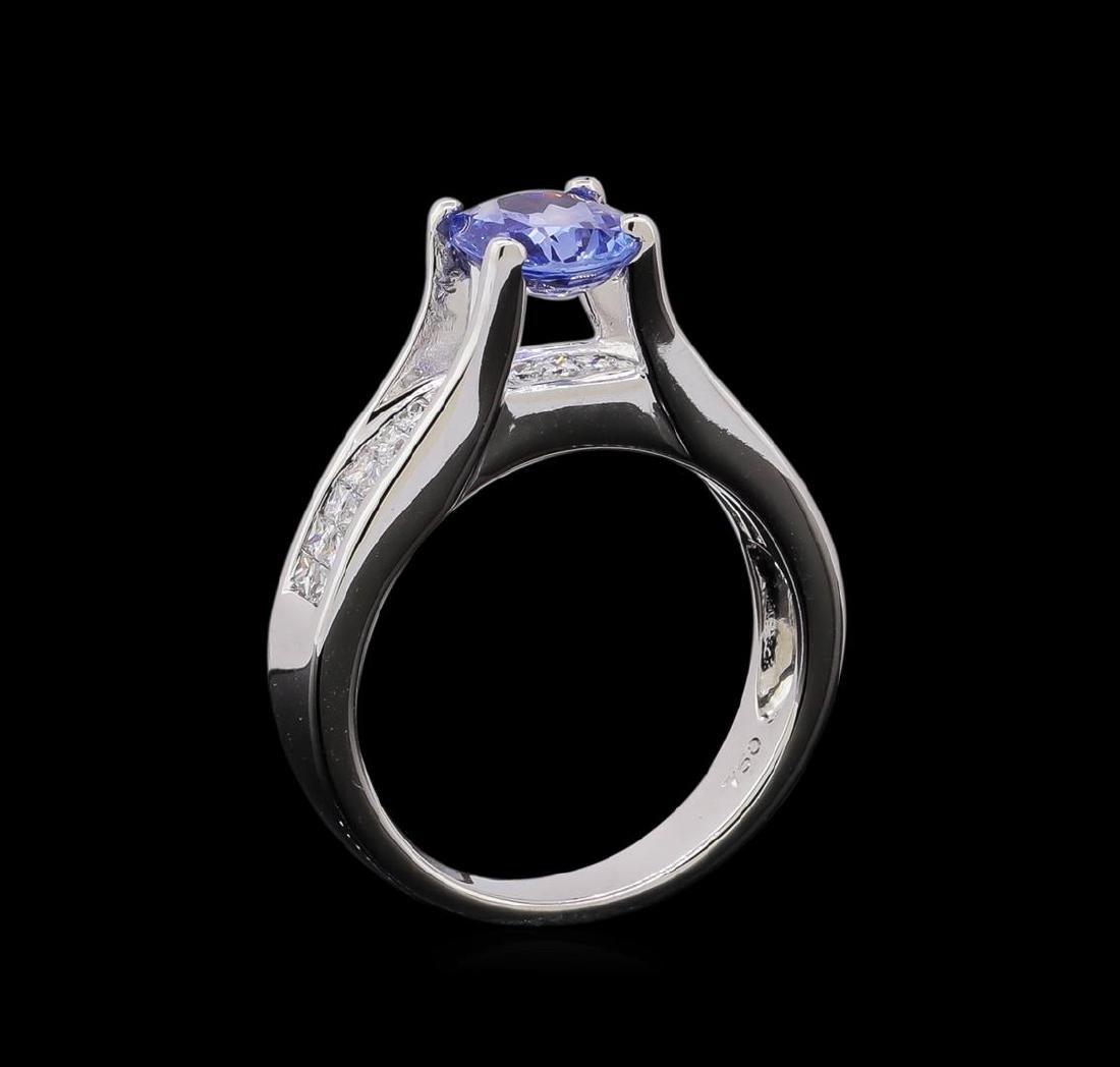 1.31 ctw Tanzanite and Diamond Ring - 18KT White Gold - 4