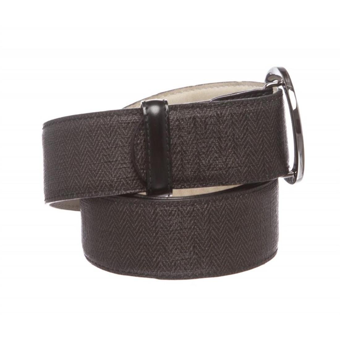 Bvlgari Black Gray Coated Canvas Leather Belt - 2