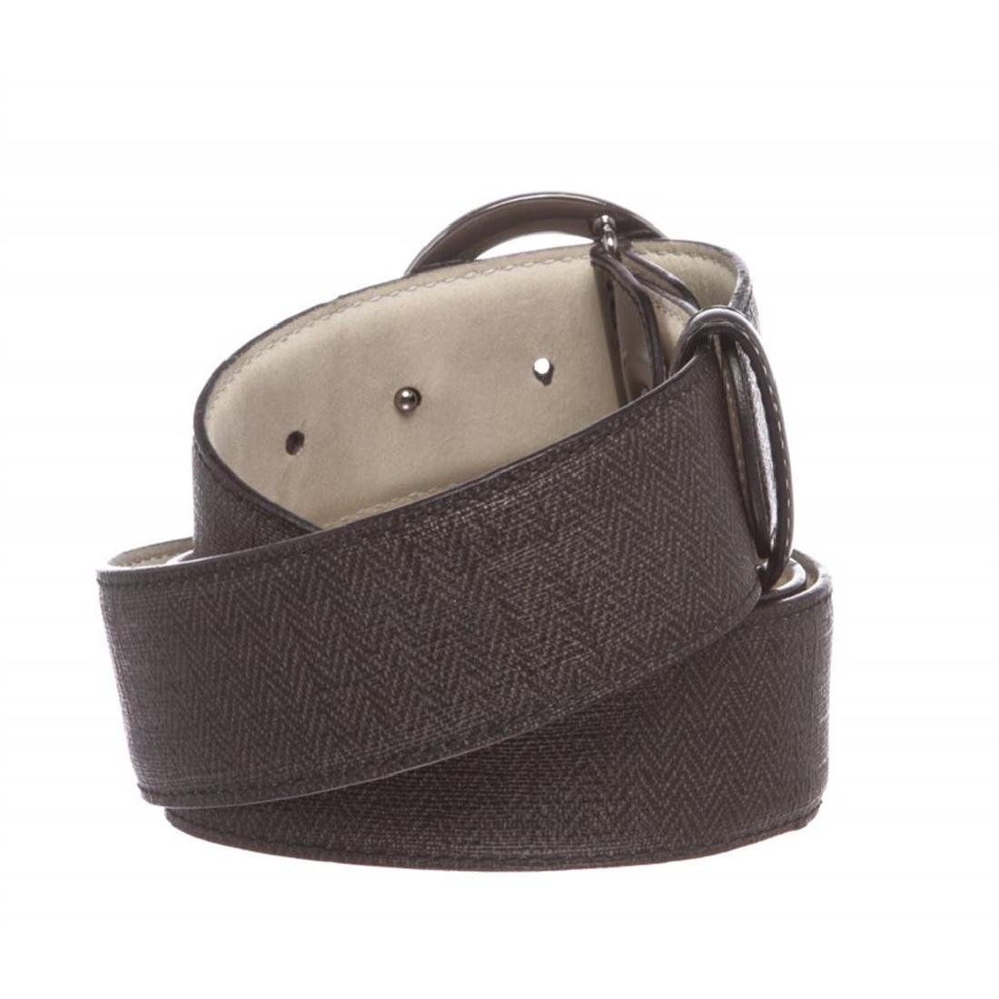 Bvlgari Black Gray Coated Canvas Leather Belt - 3