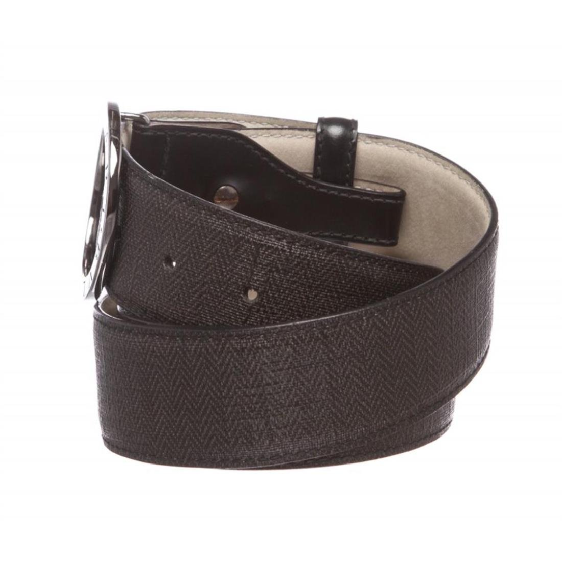 Bvlgari Black Gray Coated Canvas Leather Belt - 4