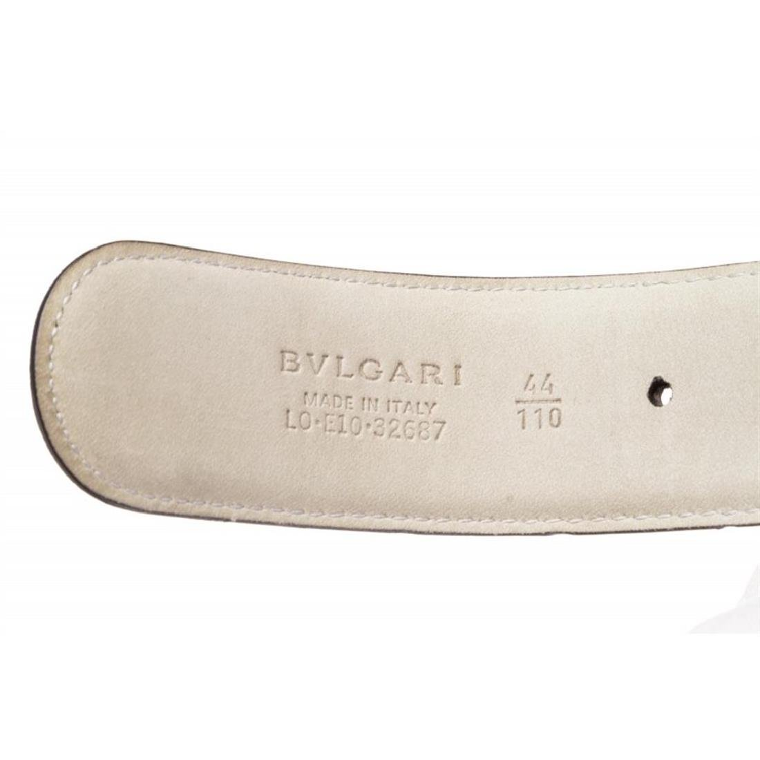 Bvlgari Black Gray Coated Canvas Leather Belt - 5