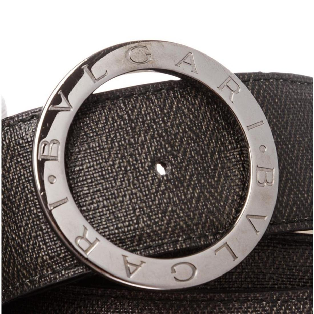 Bvlgari Black Gray Coated Canvas Leather Belt - 6