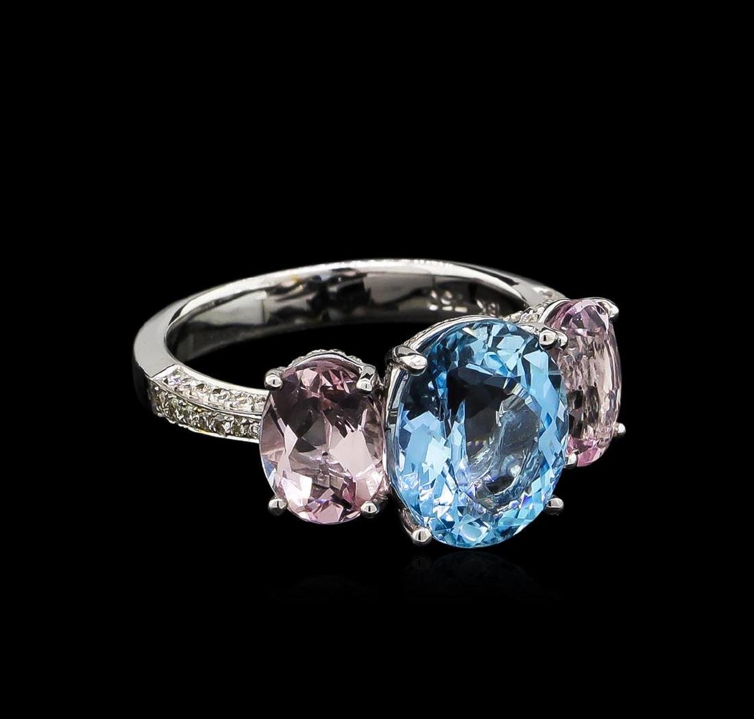 3.56 ctw Aquamarine, Morganite and Diamond Ring - 18KT