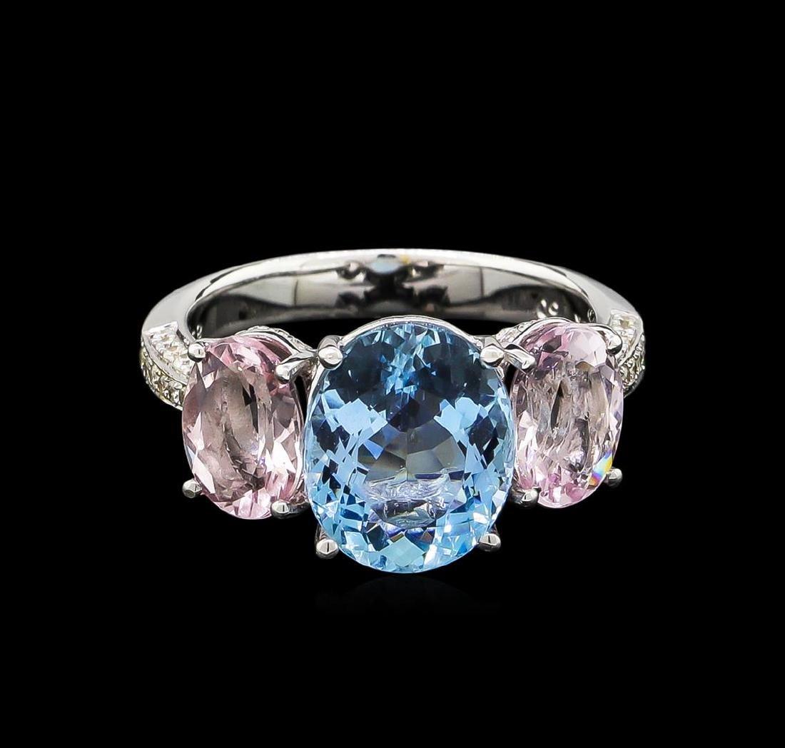 3.56 ctw Aquamarine, Morganite and Diamond Ring - 18KT - 2