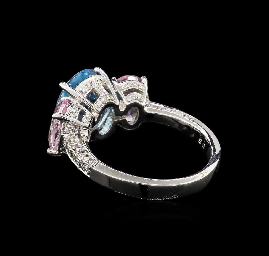 3.56 ctw Aquamarine, Morganite and Diamond Ring - 18KT - 3