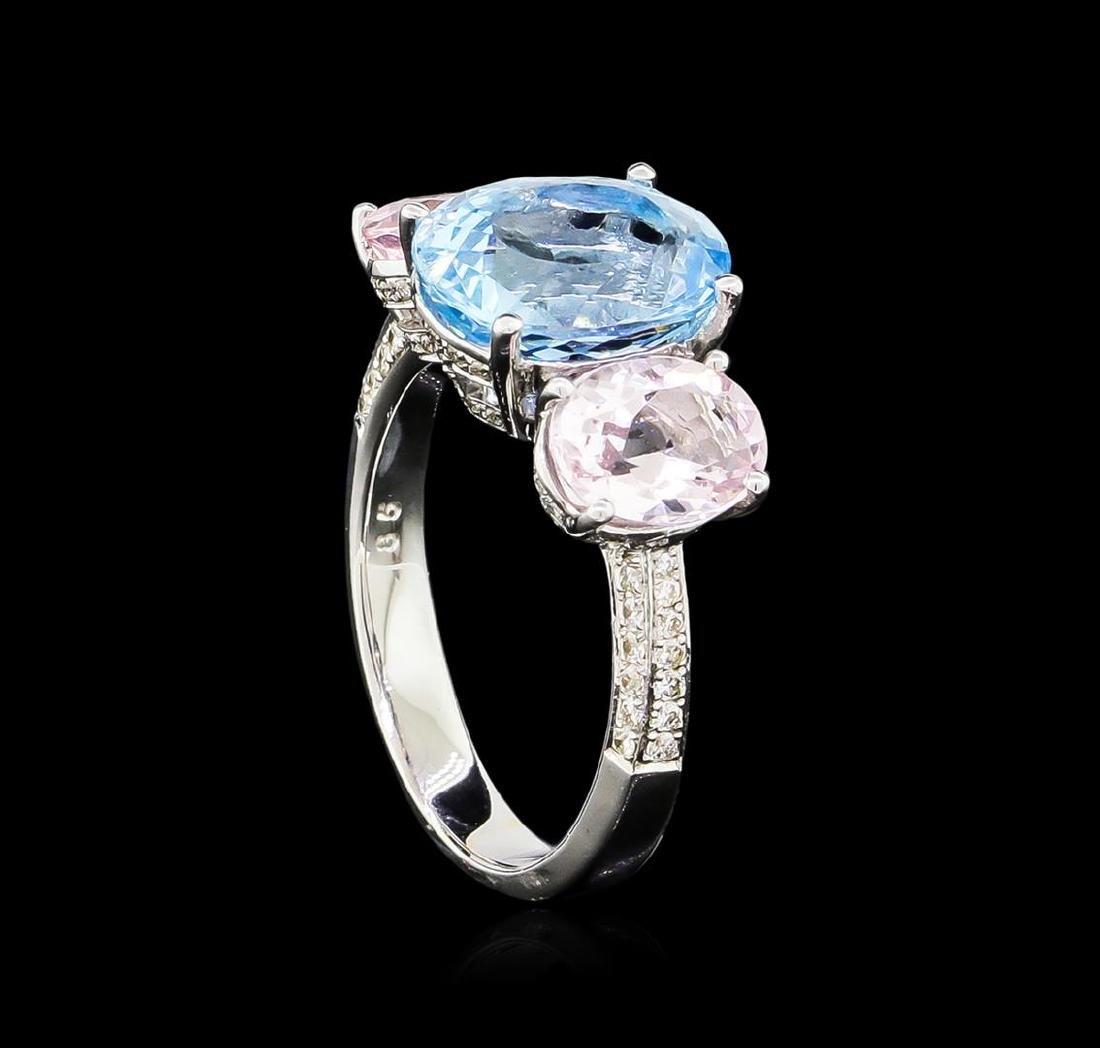 3.56 ctw Aquamarine, Morganite and Diamond Ring - 18KT - 4