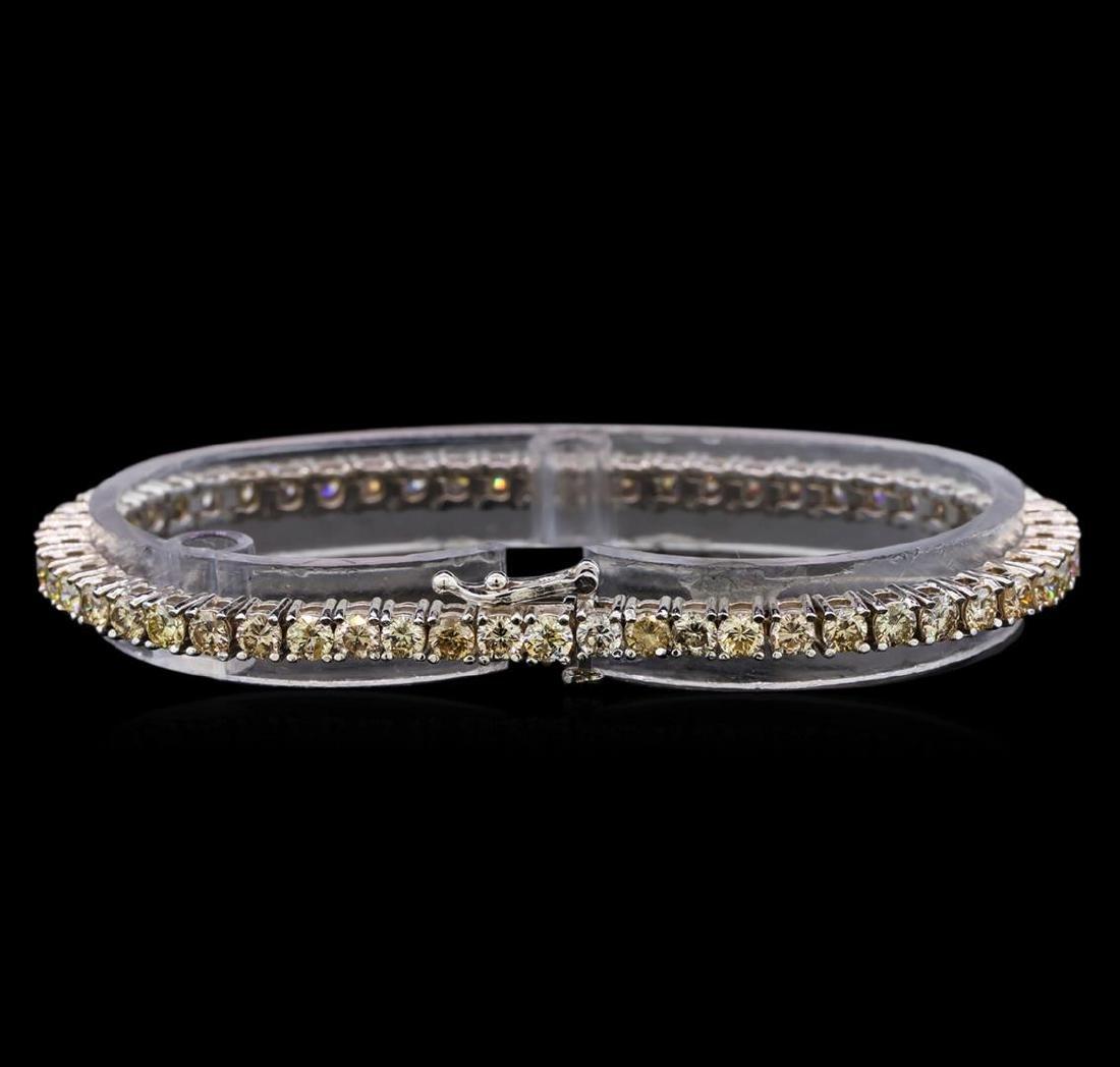 14KT White Gold 6.83 ctw Diamond Tennis Bracelet - 2
