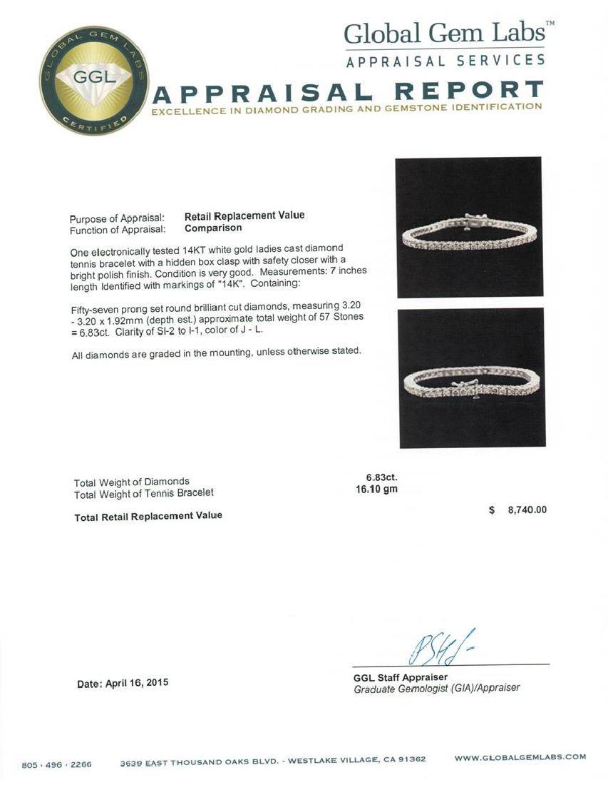 14KT White Gold 6.83 ctw Diamond Tennis Bracelet - 4