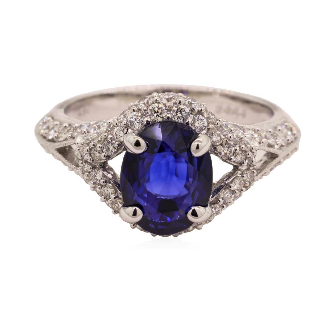 2.84 ctw Sapphire and Diamond Ring - 18KT White Gold - 2