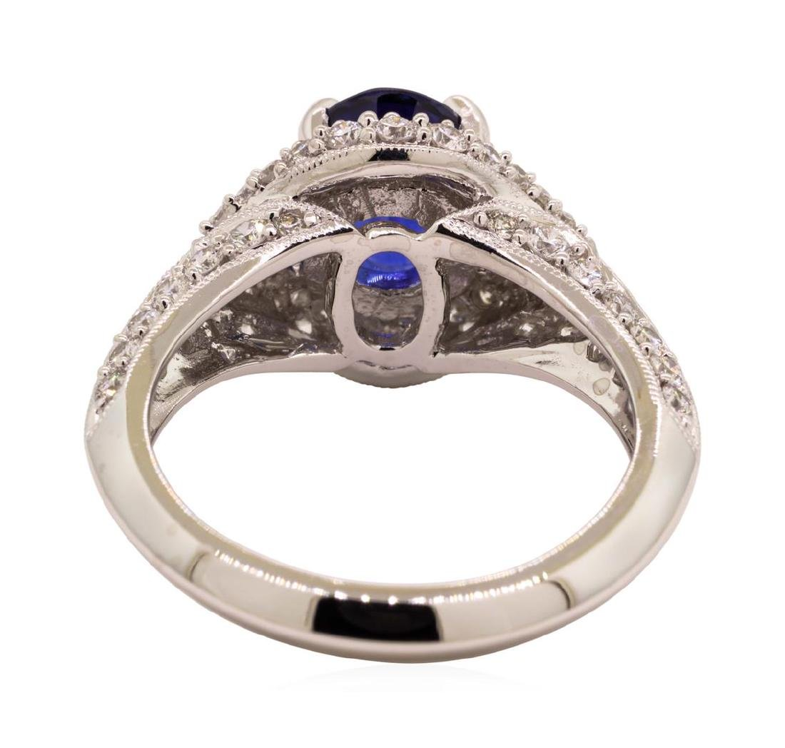 2.84 ctw Sapphire and Diamond Ring - 18KT White Gold - 3