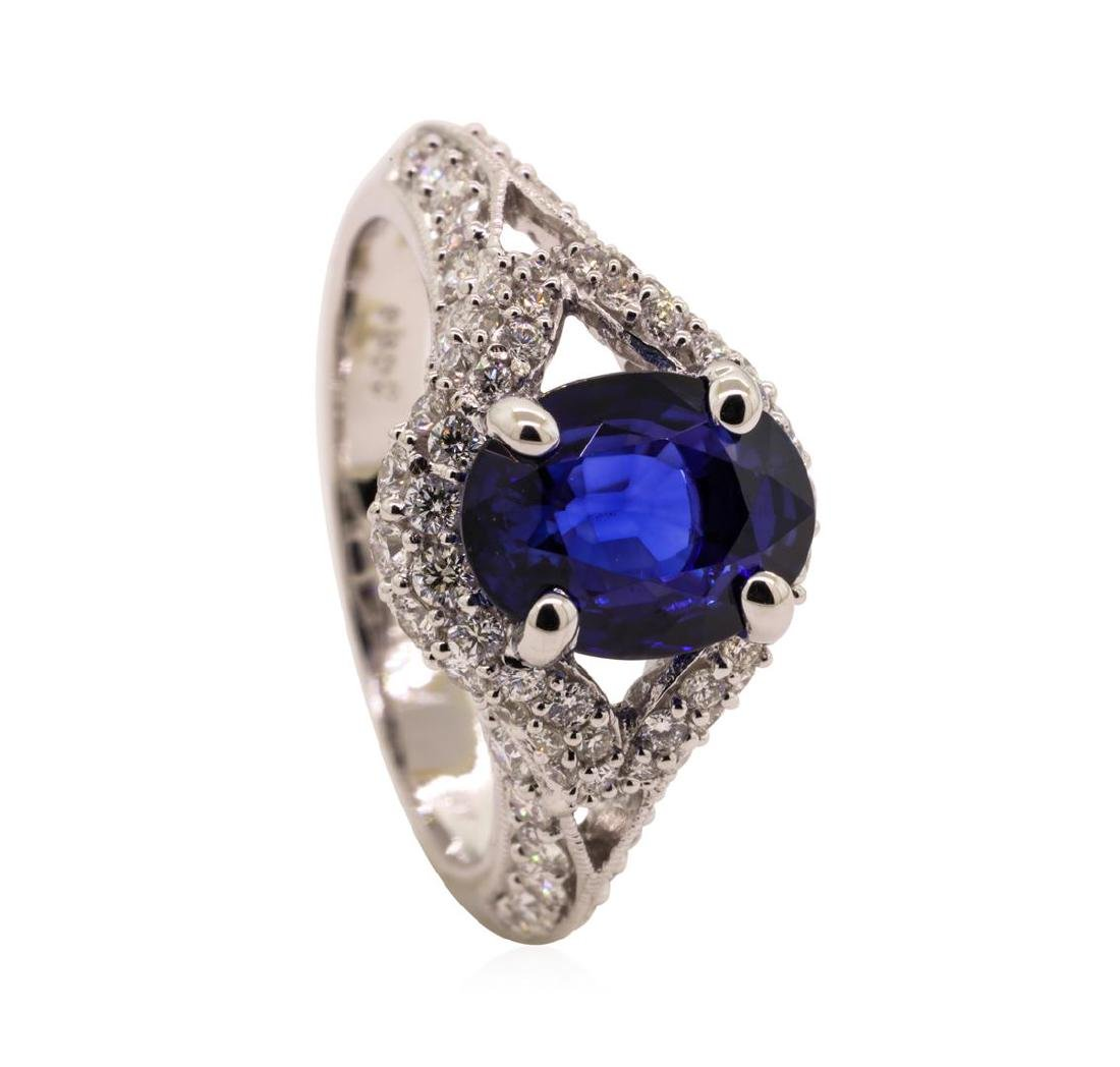 2.84 ctw Sapphire and Diamond Ring - 18KT White Gold - 4