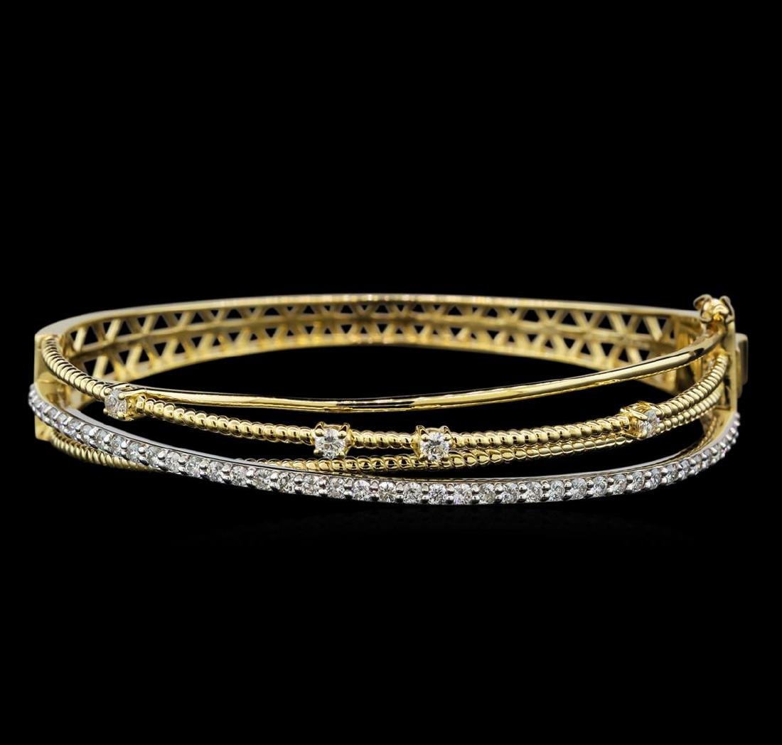 1.31 ctw Diamond Bangle Bracelet - 14KT Yellow and