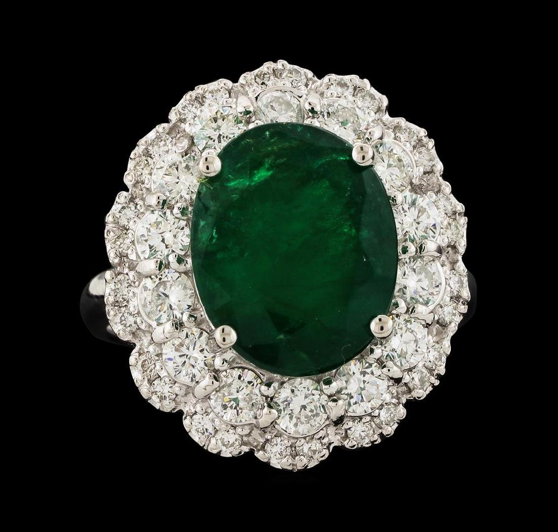 6.06 ctw Emerald and Diamond Ring - 14KT White Gold - 2