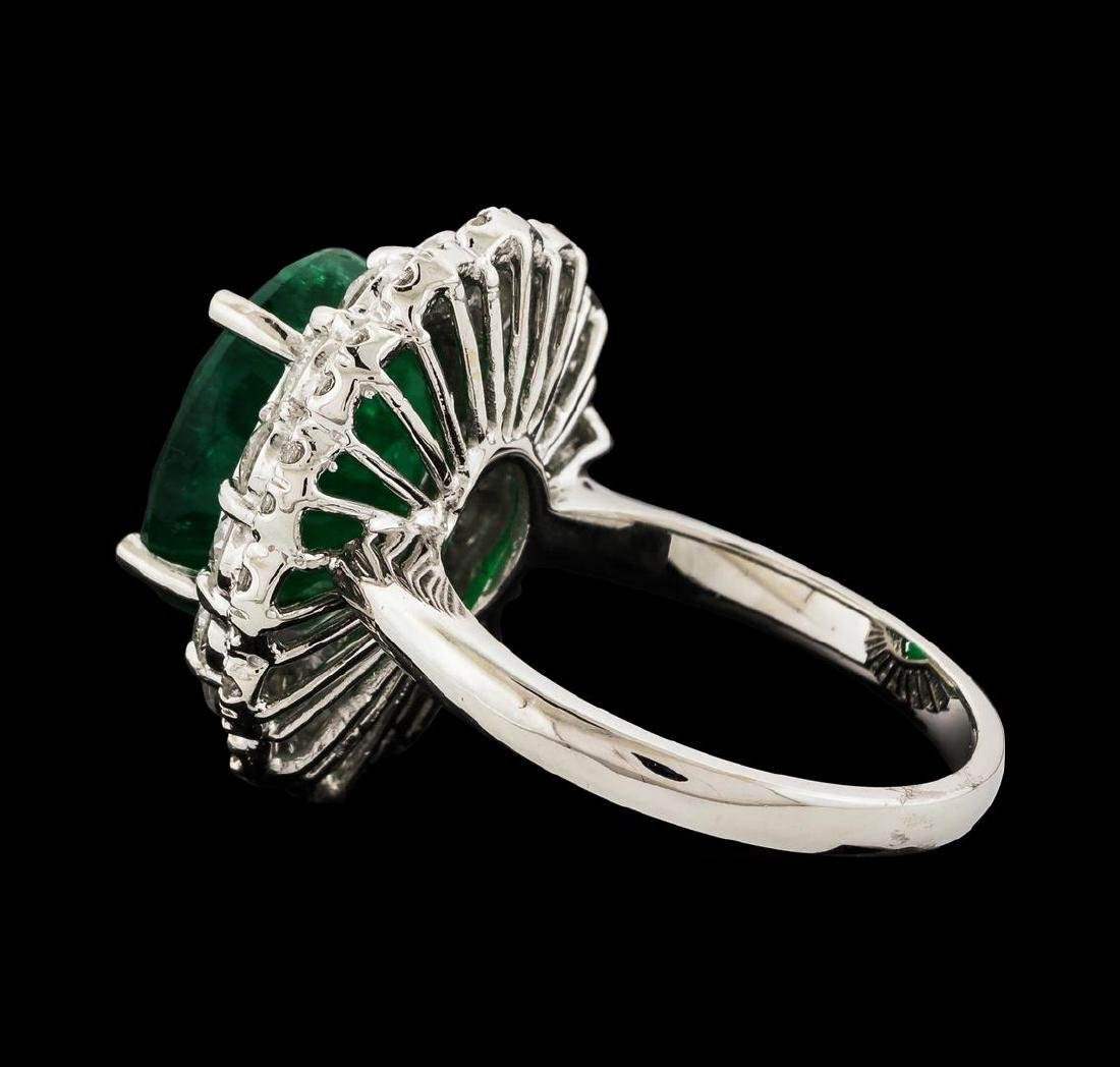 6.06 ctw Emerald and Diamond Ring - 14KT White Gold - 3
