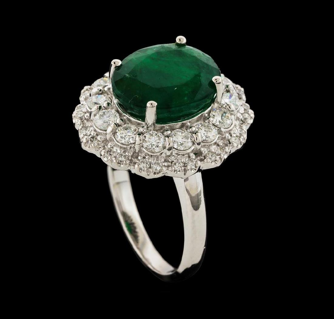 6.06 ctw Emerald and Diamond Ring - 14KT White Gold - 4