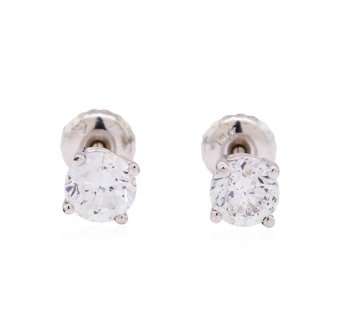 1.00 ctw Diamond Stud Earrings - 14KT White Gold