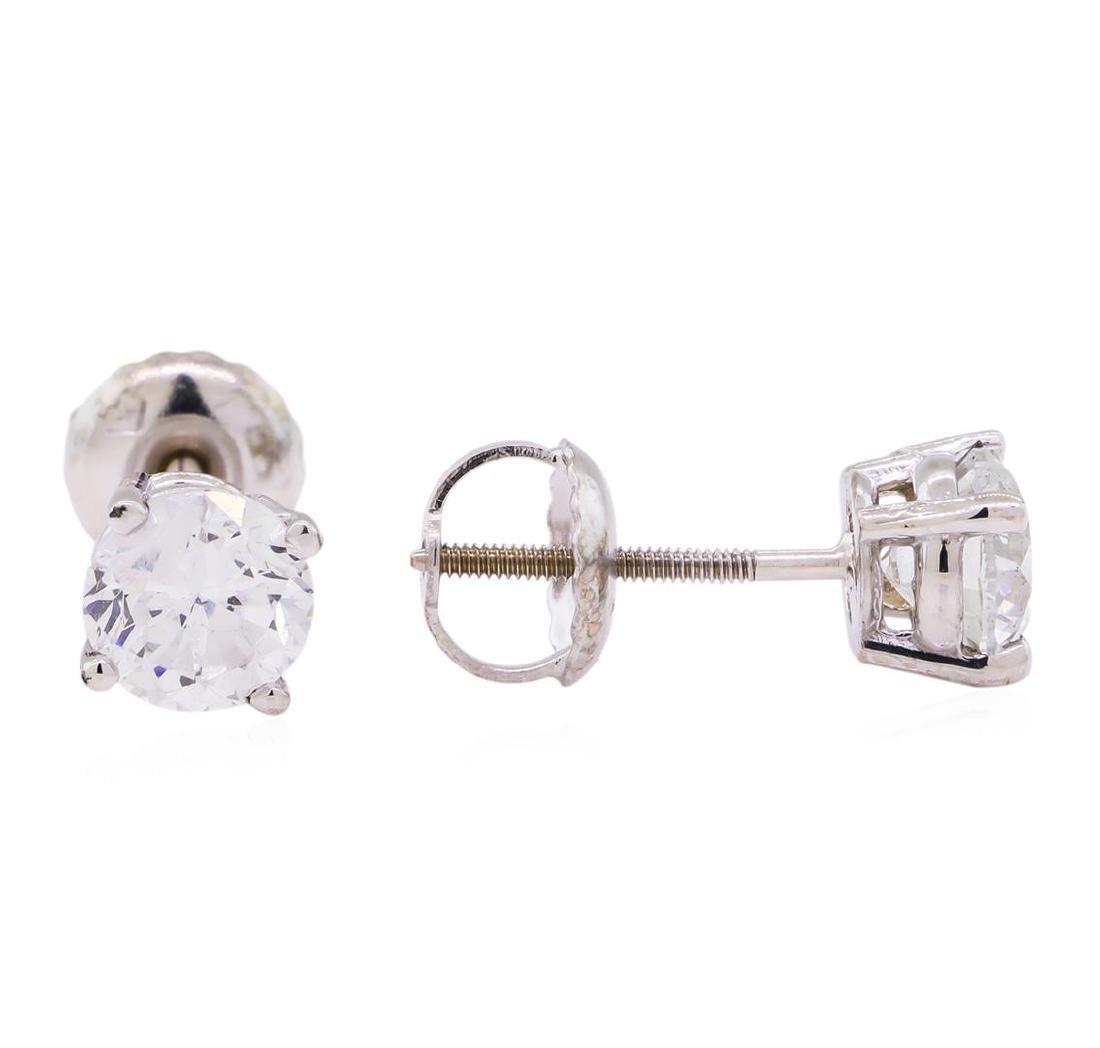 1.00 ctw Diamond Stud Earrings - 14KT White Gold - 2