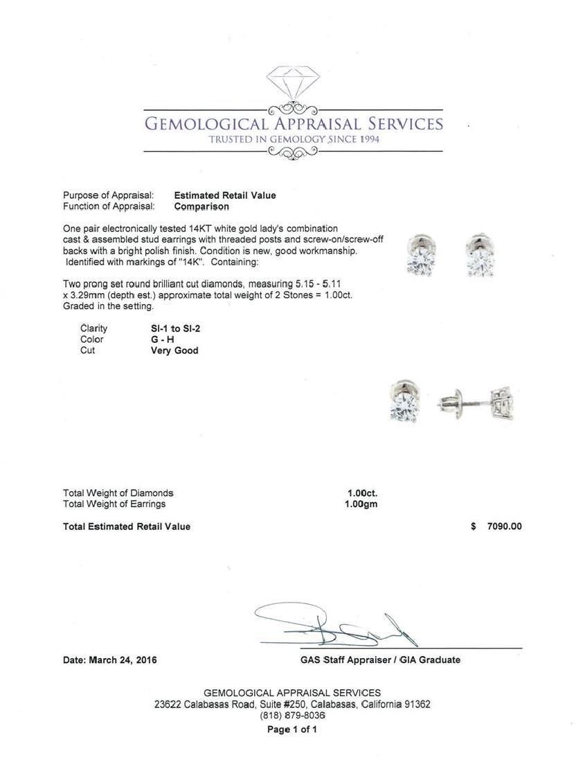 1.00 ctw Diamond Stud Earrings - 14KT White Gold - 3