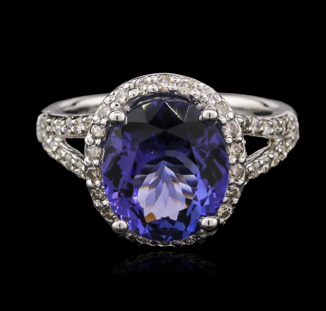 4.64 ctw Tanzanite and Diamond Ring - 14KT White Gold - 2