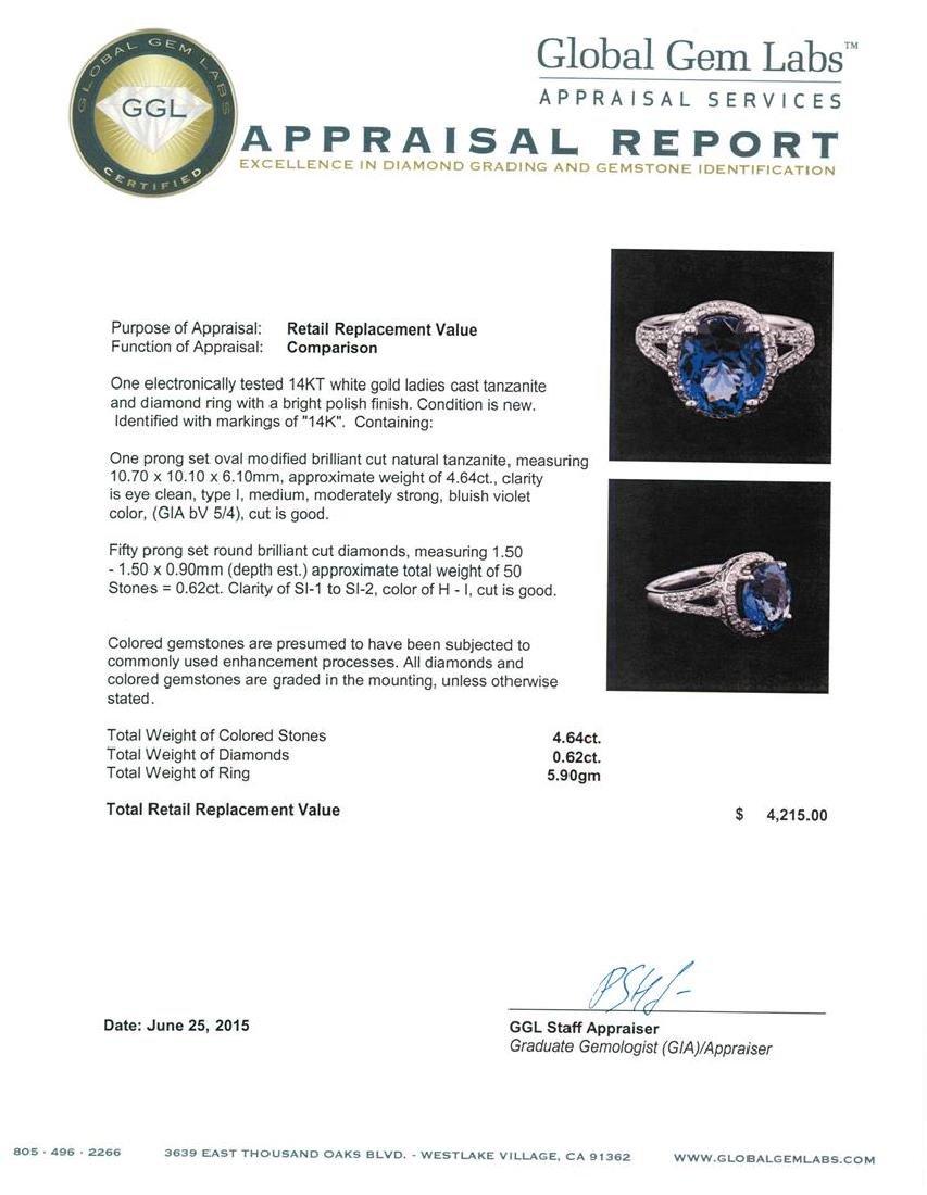 4.64 ctw Tanzanite and Diamond Ring - 14KT White Gold - 3