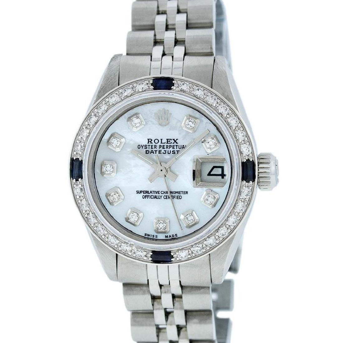 Rolex Ladies Stainless Steel Mother Of Pearl Diamond & - 2