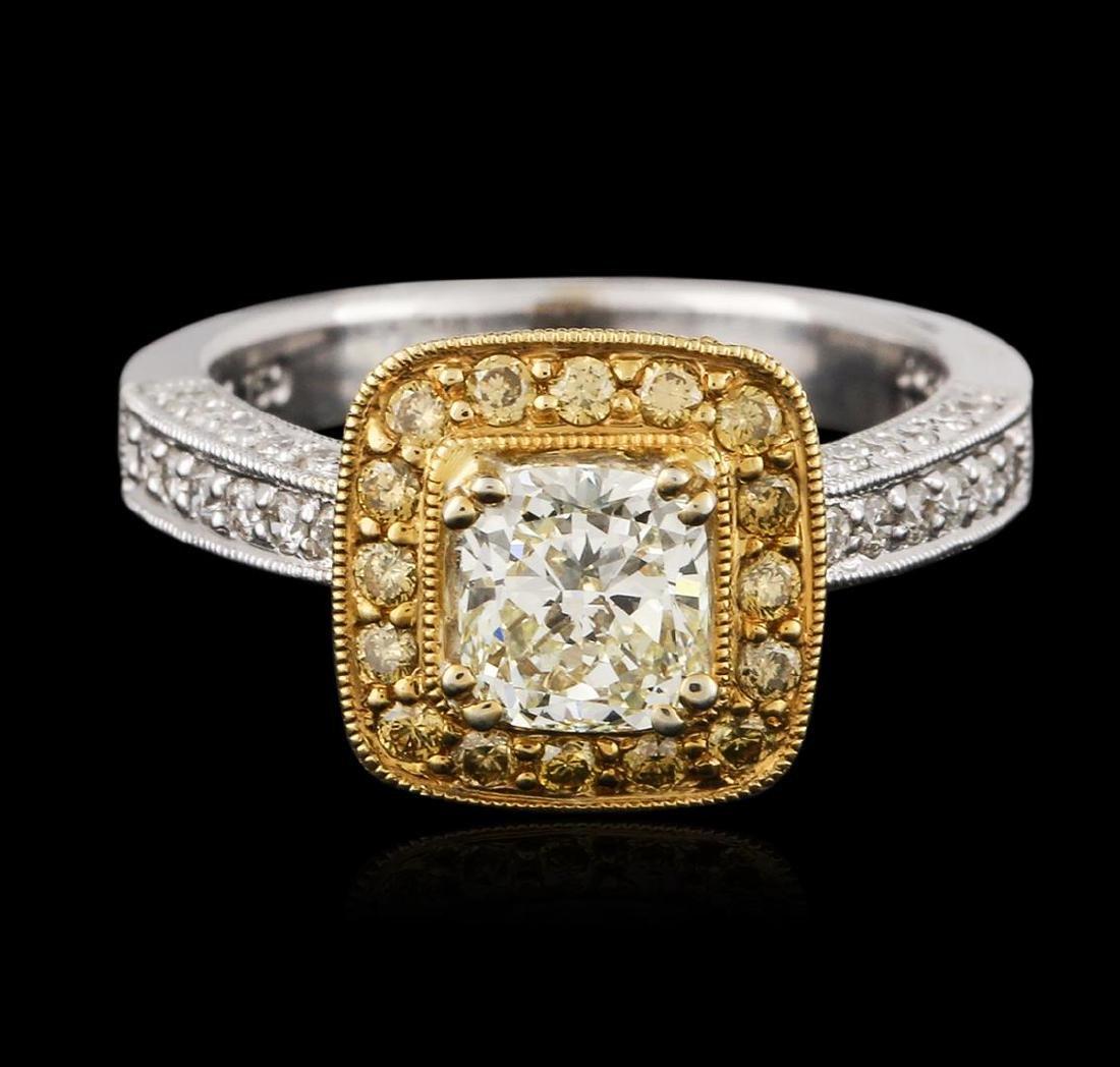 18KT Two-Tone Gold 1.43 ctw Fancy Light Yellow Diamond - 2
