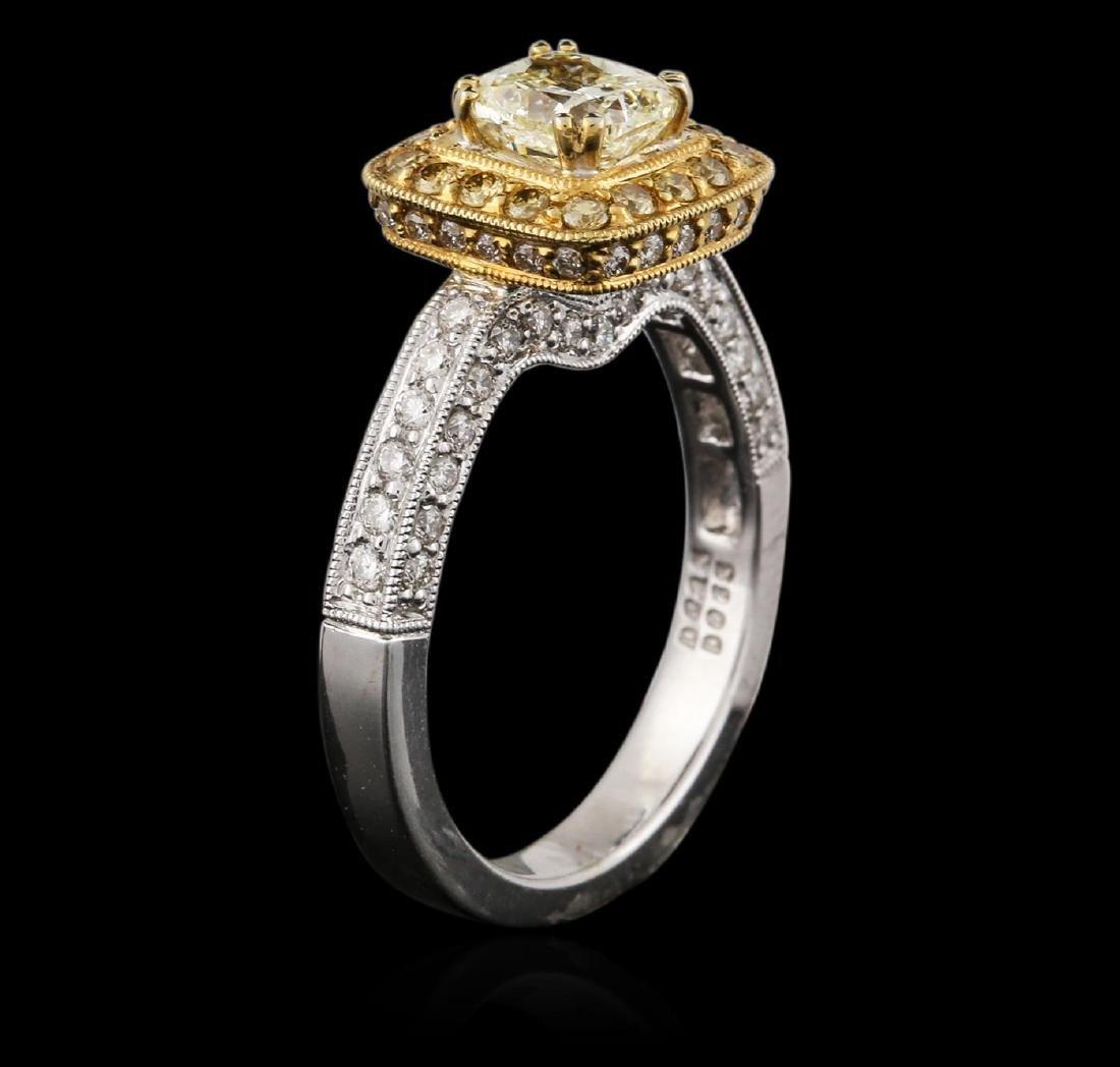 18KT Two-Tone Gold 1.43 ctw Fancy Light Yellow Diamond - 3