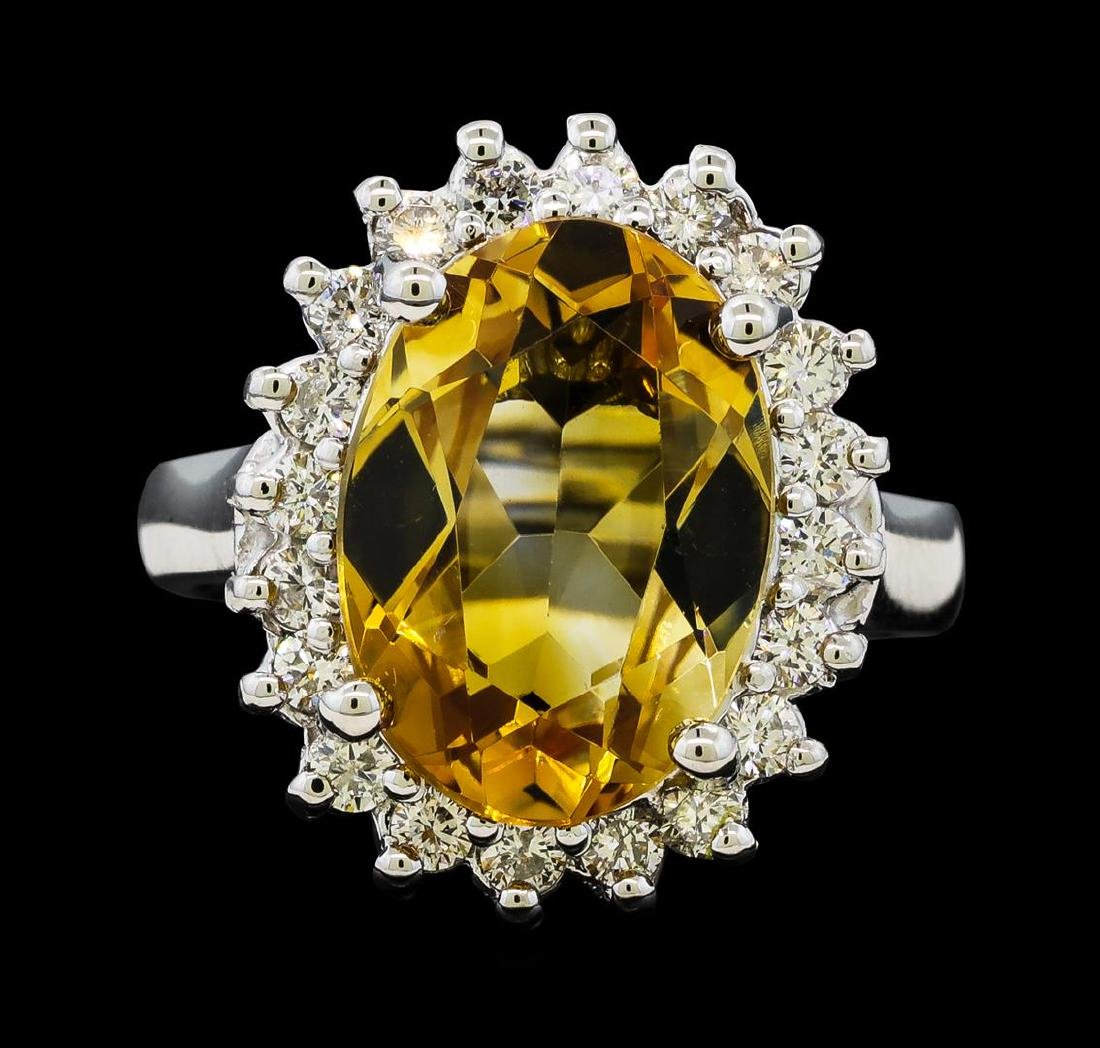 5.37 ctw Citrine Quartz  and Diamond Ring - 14KT White - 2