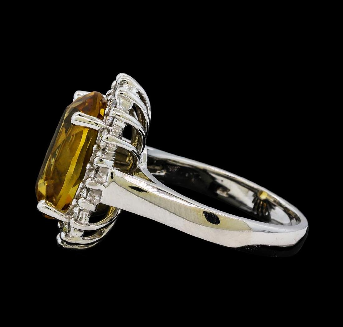 5.37 ctw Citrine Quartz  and Diamond Ring - 14KT White - 3