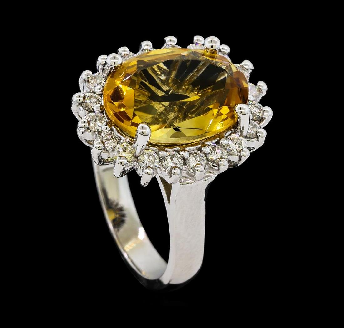 5.37 ctw Citrine Quartz  and Diamond Ring - 14KT White - 4