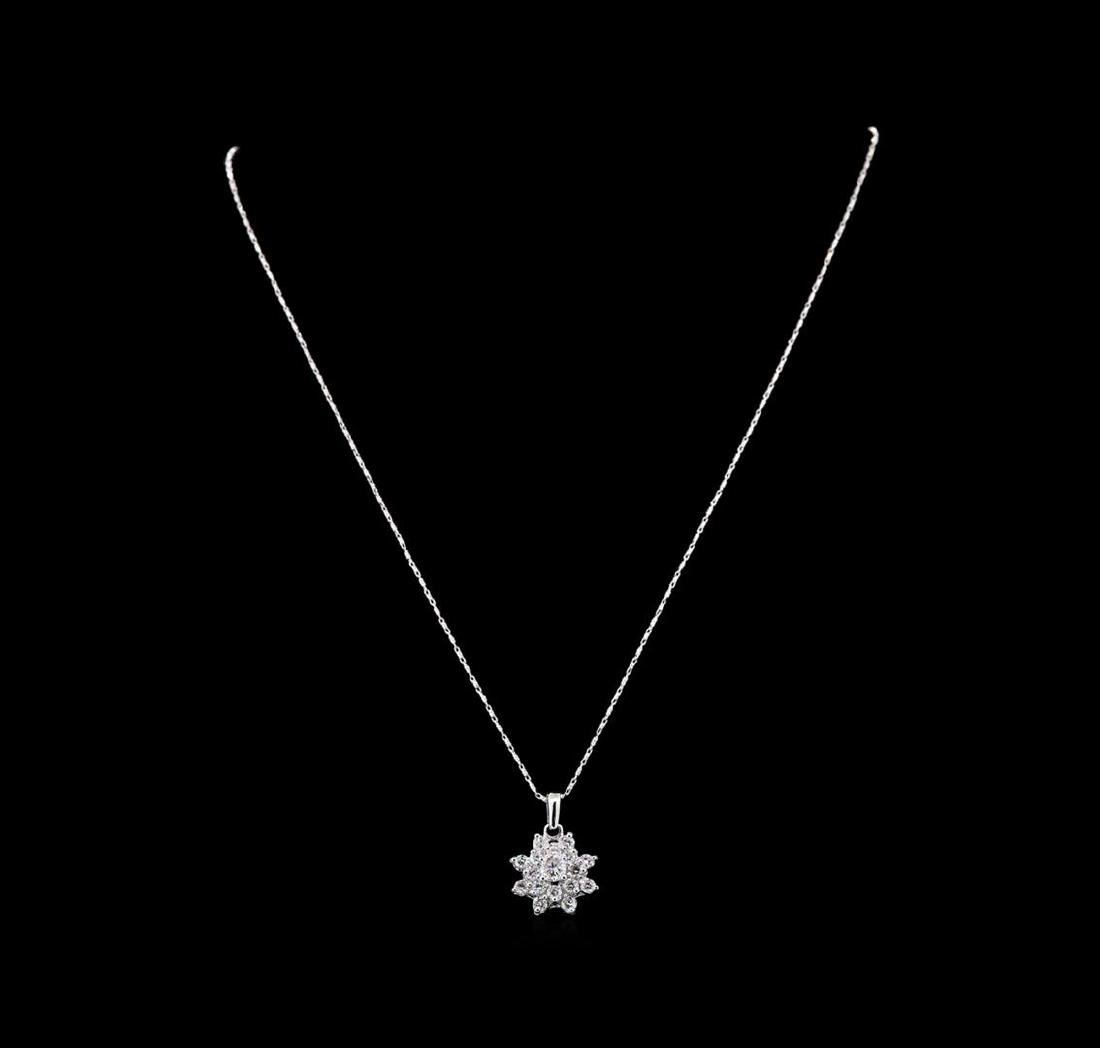 14KT White Gold 1.41 ctw Diamond Pendant With Chain - 2