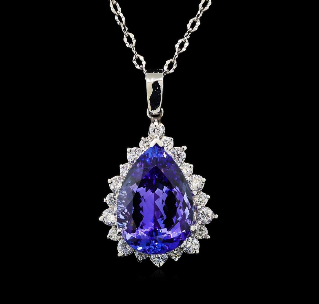 GIA Cert 18.21 ctw Tanzanite and Diamond Pendant With