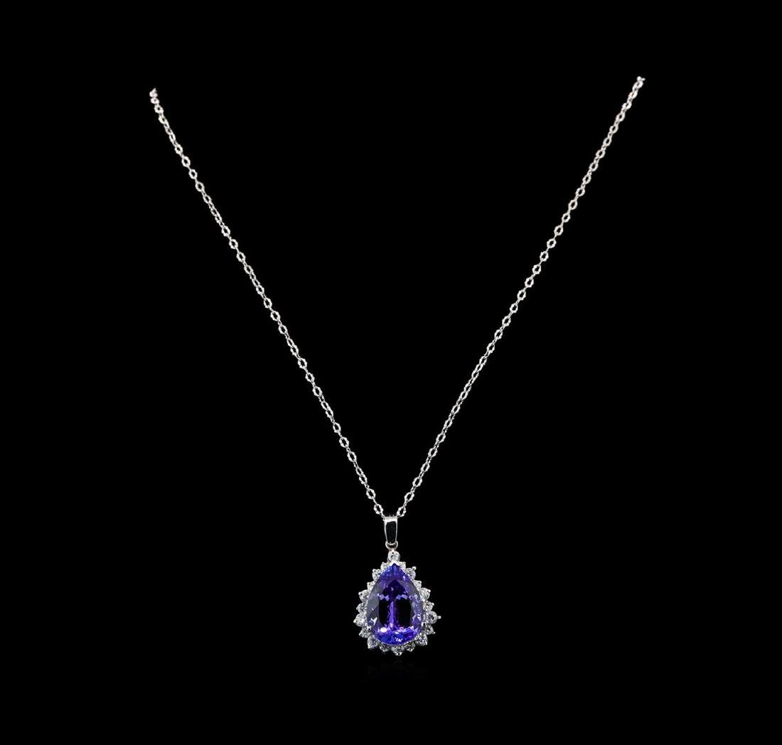 GIA Cert 18.21 ctw Tanzanite and Diamond Pendant With - 2