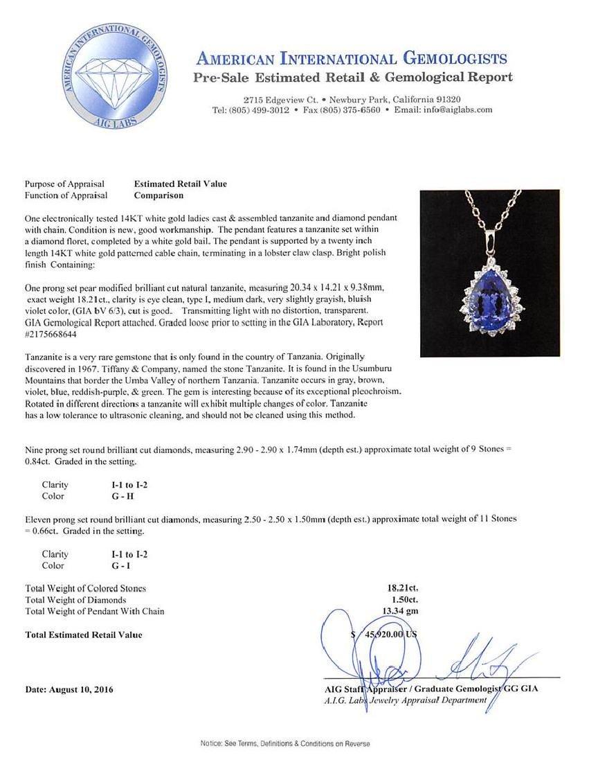GIA Cert 18.21 ctw Tanzanite and Diamond Pendant With - 3