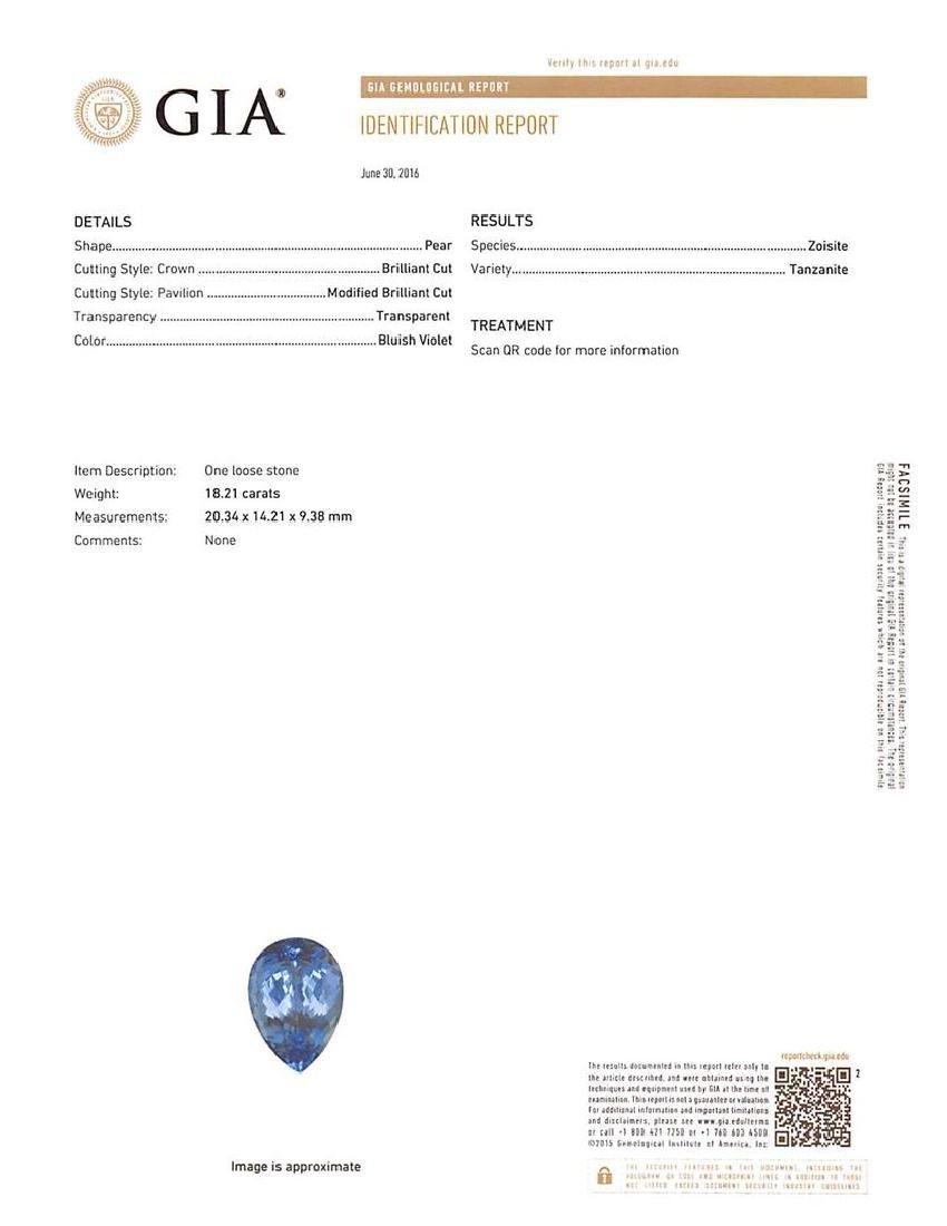 GIA Cert 18.21 ctw Tanzanite and Diamond Pendant With - 4